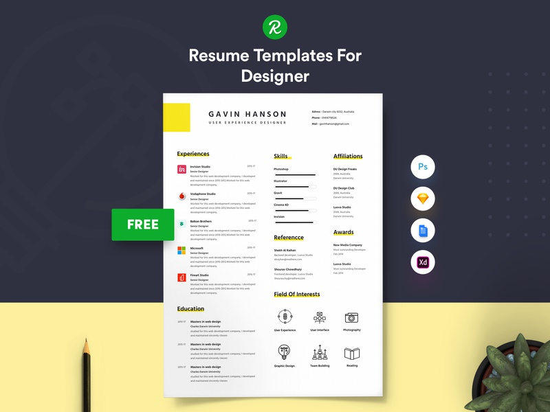 Free Resume Template  For Designer With Portfolio ux user experience designer skills professional personal resume modern resume layered psd graphic designer free sketch resume free resume for designer free resume free cv download docx designer cv template in sketch curriculum vitae cover letter colorful 3 page resume