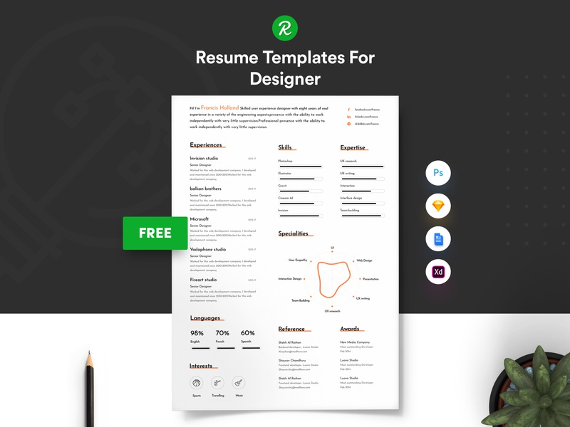 Free Resume Template For Designer With Portfolio user experience designer resume in .sketch file professional personal resume modern resume layered psd free sketch resume free resume for designer free resume free cv designer cv template in sketch curriculum vitae cover letter colorful 3 page resume