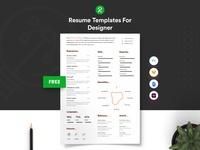 Free Resume Template For Designer With Portfolio