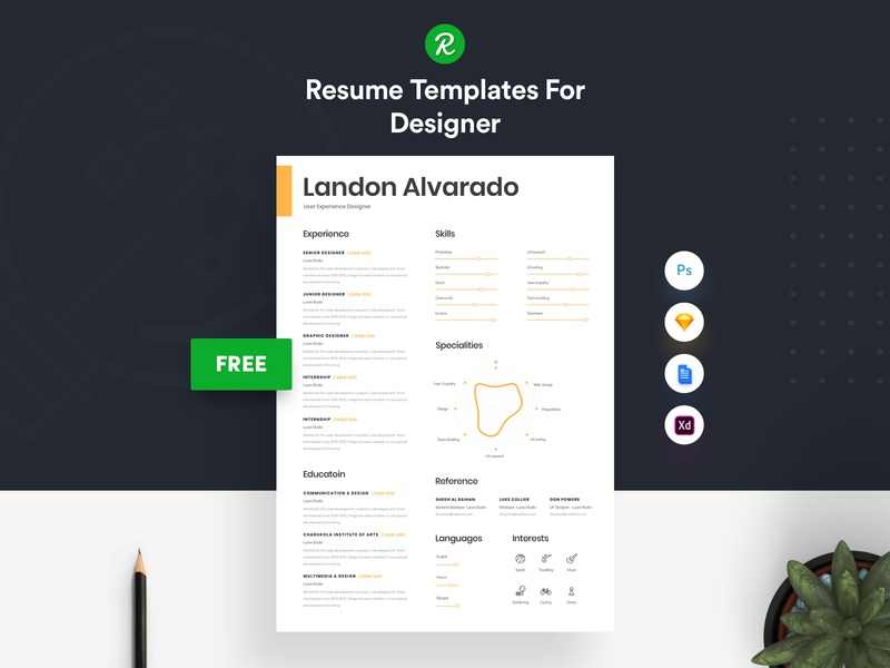 Free Resume Template For Designer ux user experience designer resume in .sketch file personal resume modern resume layered psd free sketch resume free resume for designer free resume docx cv template in sketch curriculum vitae cover letter colorful