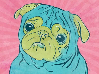Pug Print colourful digital pug dog illustration