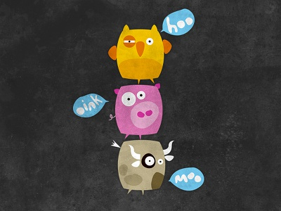 Moo Oink Hoo animals colourful owl pig cow illustration vector