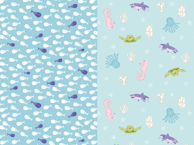 Sea life Pattern purple green pink blue sea horse turtle shark octopus fish pattern ocean sea
