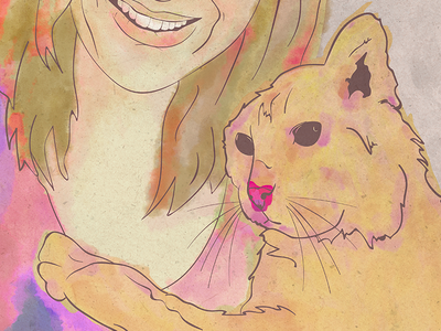 Pet portrait digital art art digital watercolour animal cat