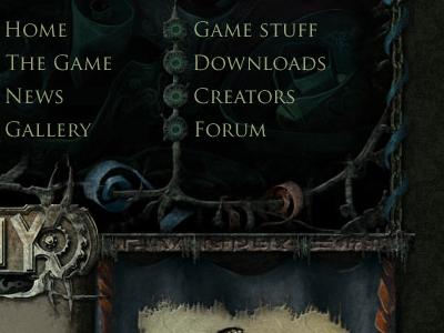 Game website menu menu fantasy rpg game website design template dark
