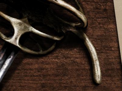 Fantasy game screen concept - details preview history old steel metal gold rapier sword letter wood game rpg fantasy