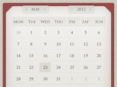 Calendar widget design calendar widget design ui gui old style classic paper textured