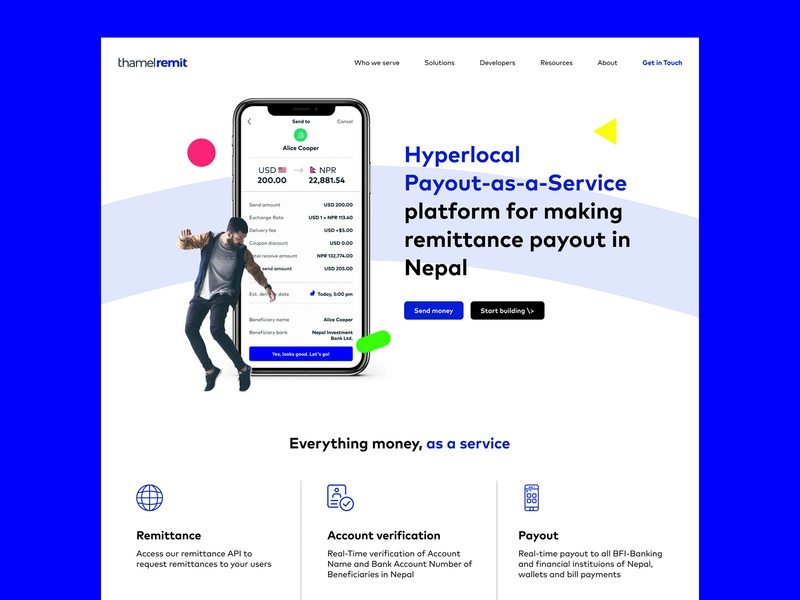 ThamelRemit Home Screen landing landing page homepage design uiux website concept send money fintech money transfer website design desktop website