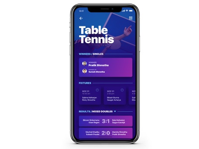 Leapfrog Sports sport app dark blue purple design uiux mockup iphone ios players ping pong table tennis soccer fixture match game sports