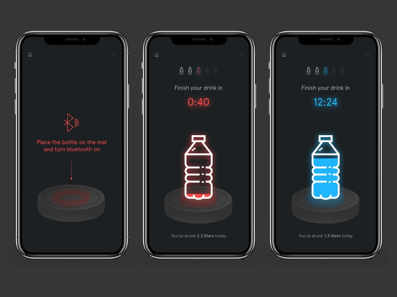 Drink.ly Concept Design sketch ux ui design uiux notification healthcare bottle ios11 ios12 iphone apple iphone app mobile app ios ios app health drink water