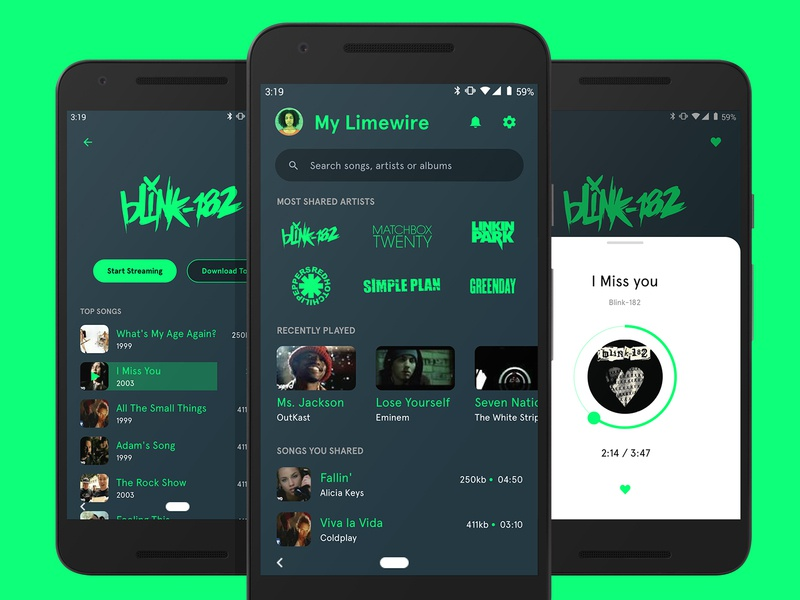 Remember Limewire? albums songs artists card slider ui ux design app design mobile app dark ui ui typography player music minimal layout interactive design comment clean app