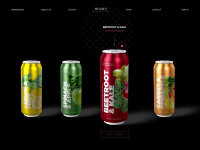 Beverage company website homepage