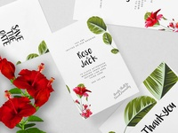 Wedding Invitation Card, RSVP, Thank you, Hibiscus
