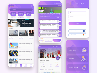 Mobile app design ios app design android app homepage login page app userexperiencedesign mobile app design mobile ui application ux flatdesign service app language learning education driving license user interface design app design ui