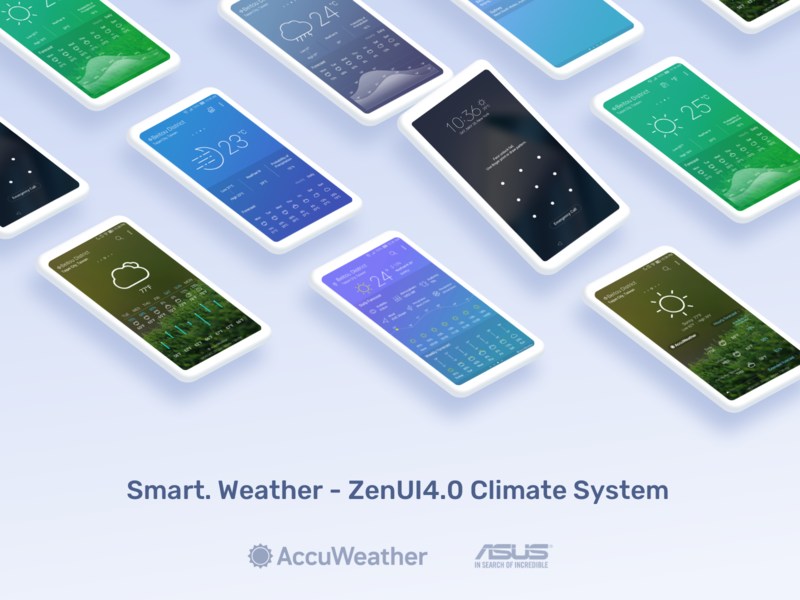 Smart Weather with AccuWeather - ZenUI Climate System ice wind rain sun gradient weather widget weather app zenui zenphone elegant clear minimalism minimalist climate weather interaction ux ui graphic design