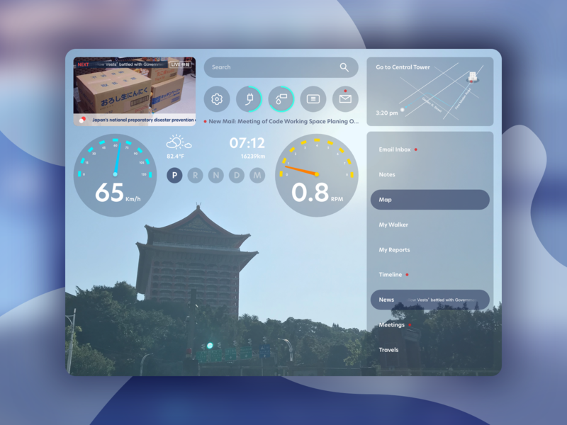 Autonomous Car Dashboard: Active Driving Display smart tech dashboard drive vector self-driving interaction information driverless dash board autonomous car app motion digital visual ux ui graphic design