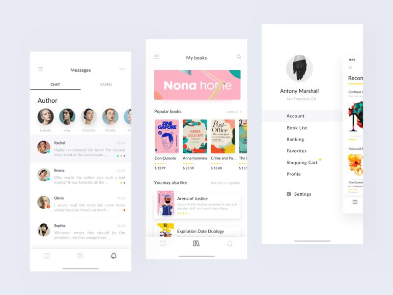Reading App Design Project - Feeds & Messages book read iphone x iphonex branding queble portfolio interface flat design ux app ui