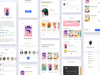 Reading App Design Project color ui uidesign ui  ux kit user interface card queble animated clean book read iphone x iphonex typography branding portfolio interface flat app