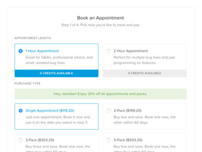 Book An Appointment Modal table options pricing schedule slot time book appointment modal
