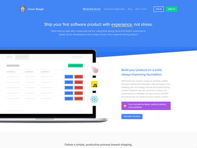 Landing page for Clever Beagle proxima nova soft purple white blue marketing page landing