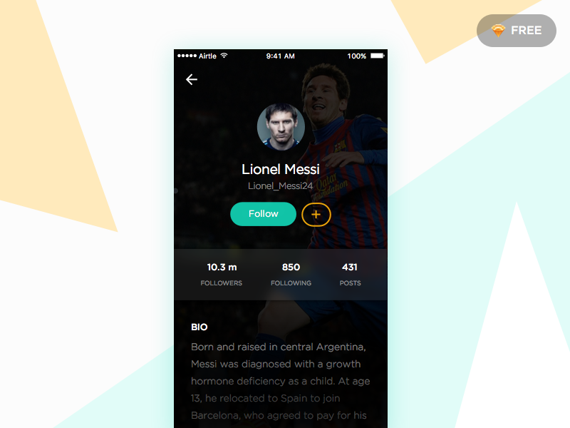 User Profile - Day #008 mobile ios sketch ux ui profile football daily 008 100