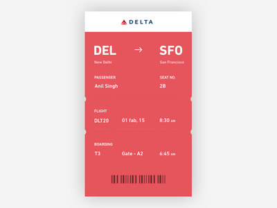Boarding Pass - Day #21 day 21 ticket mobile clean sketch free pass boarding ui daily