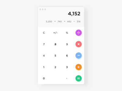 Calculator - Day #22 day 22 ios mobile clean sketch free app calculator ui daily