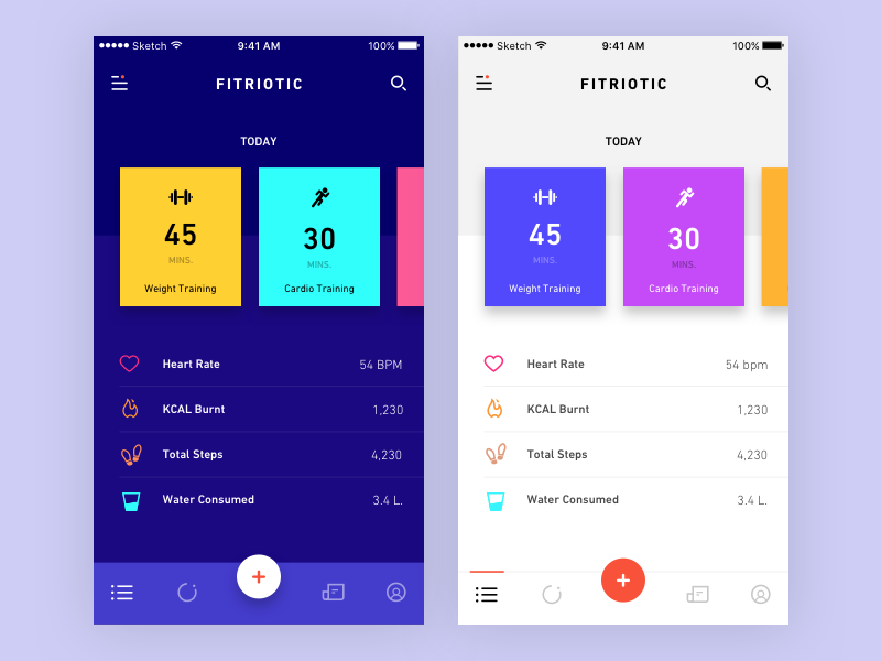 Fitness App fit ios colorful warm ui ux mobile design app health fitness
