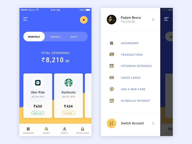 Spending App - Another Exploration  ios colours mobile yellow  blue cards menu hamburger money wallet spending