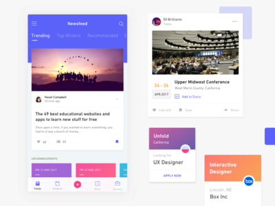 Student Newsfeed career post app ios product card ui student feeds blog social