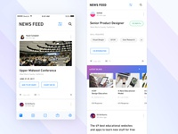 Newsfeed career post app ios scroll up card ui student feeds blog social