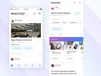 Newsfeed career post app ios scroll up card ui student feeds blog social