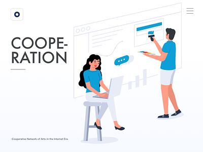 cooperation banner web design exercises illustration
