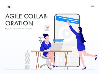 Agile collaboration website illustration