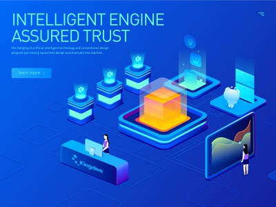 Intelligent engine  assured trust web design exercises illustration