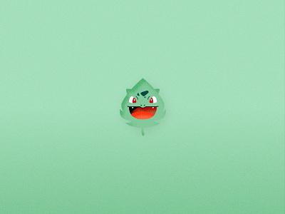 Pokemon Elements - Bulbasaur vector flat illustration graphic design art game cute leaf nature element pokemon bulbasaur
