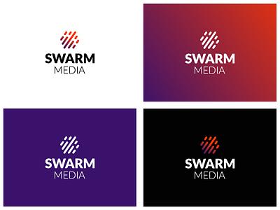 Swarm Media Logo Design arrow wave sound equalizer pictorial artists business graphic modern flat art vector design logo music media swarm
