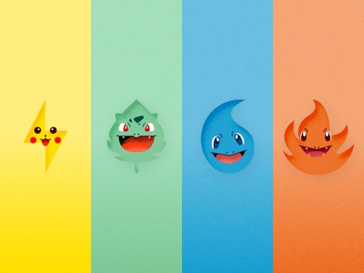 Pokemon Elements design vector illustration character charmander squirtle bulbasaur pikachu fire grass ice water electric elements pokemon