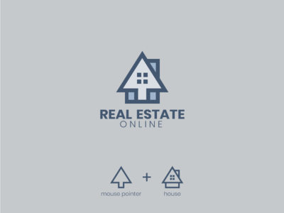 Real Estate Online logo concept company sales online business real estate home art illustraion flat vector design logo house realestate