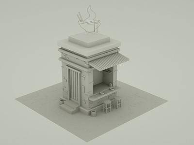 Spicy Ramen Store modeling illustrator cinema4d 3dartist 3d art videogame low poly