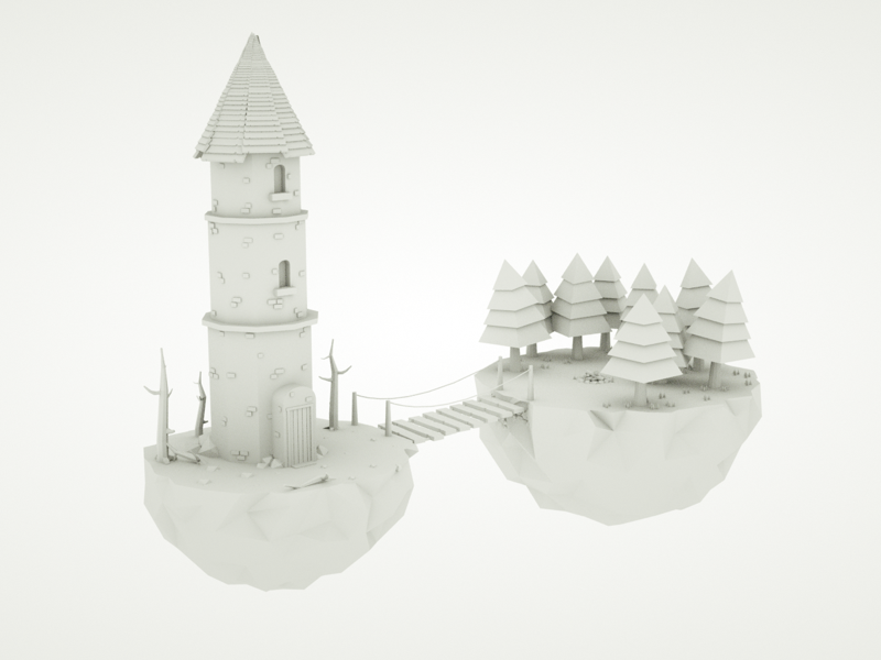 Low poly Wizards tower videogame wizard fantasy 3d low poly