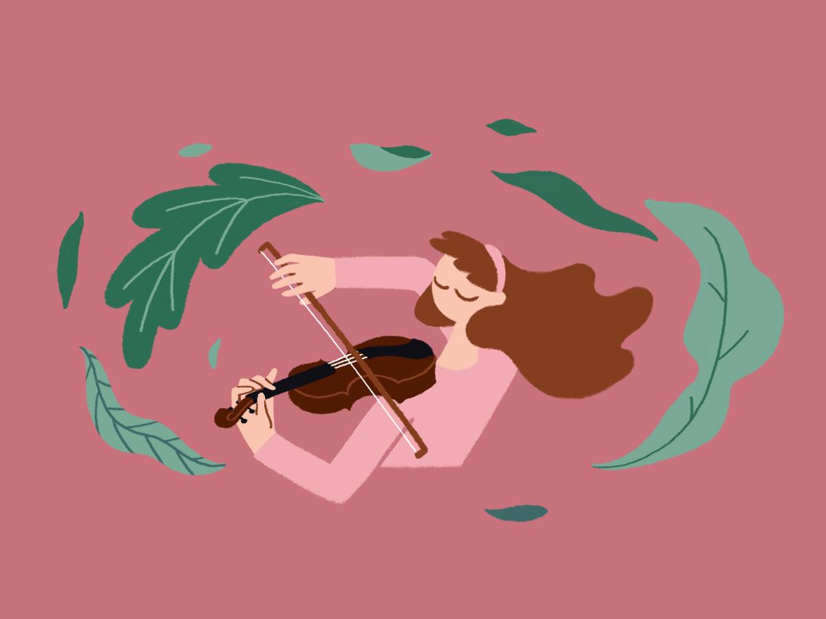 Violin plants doodle violin instruments photoshop illustration