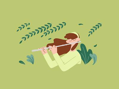 Flute doodle music plant instrument flute photoshop illustration