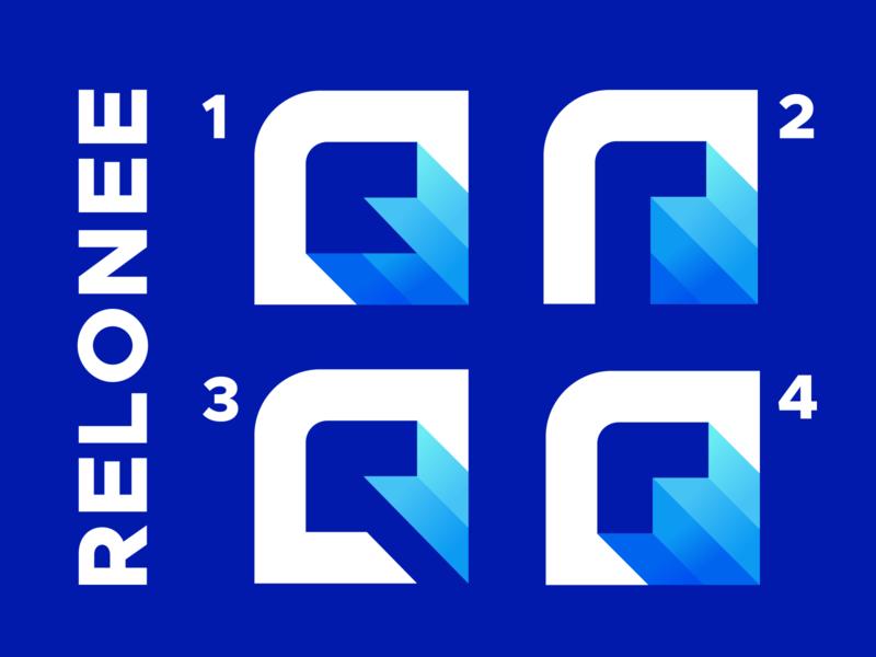 Relonee monogram abstract gradient geometric letter r logo