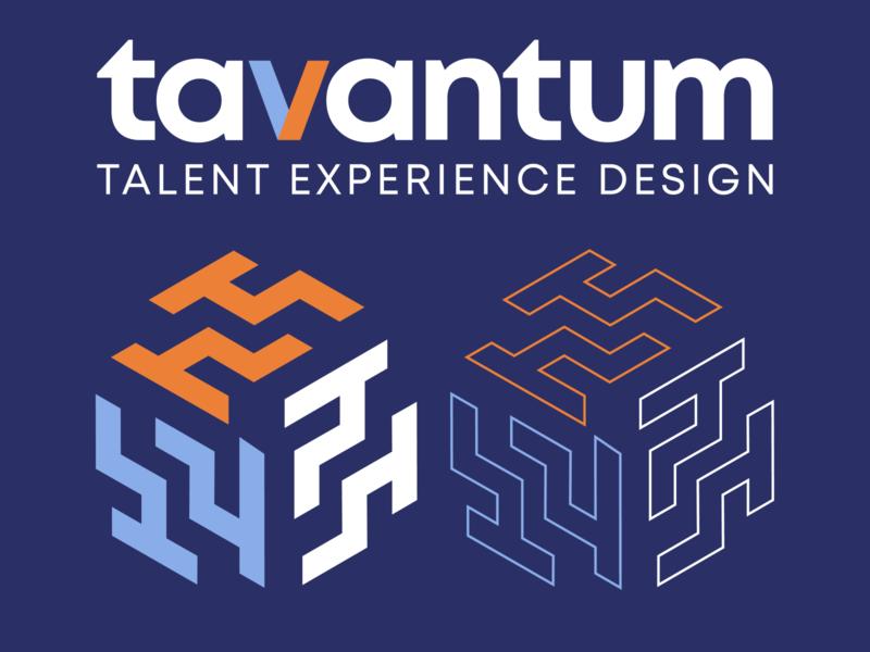 Tavantum Concept light blue orange blue colorful monogram letter t maze