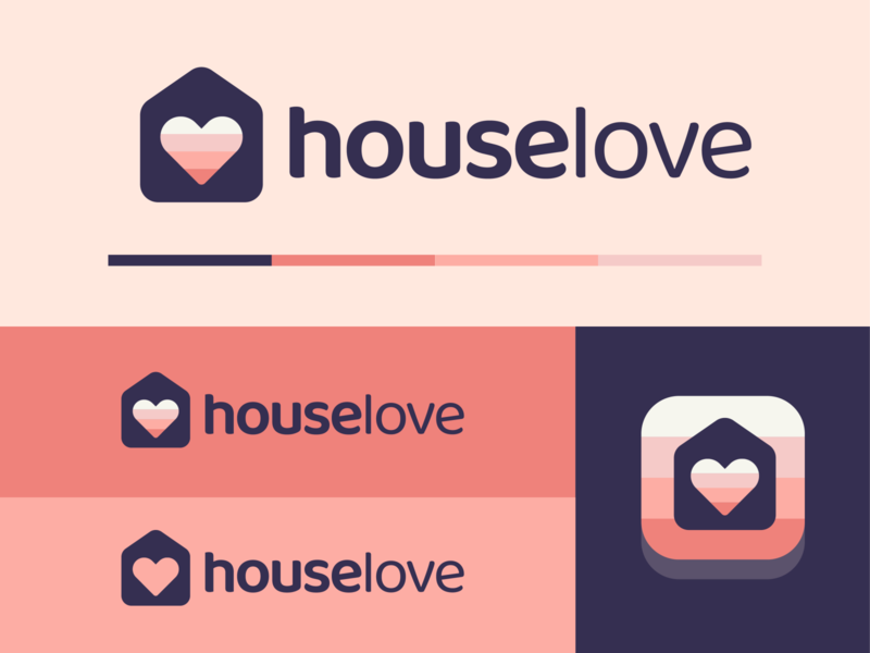 Houselove™ Concept cute abstract grid minimal family couple soft colors pink real estate home love house icon brand identity logo design