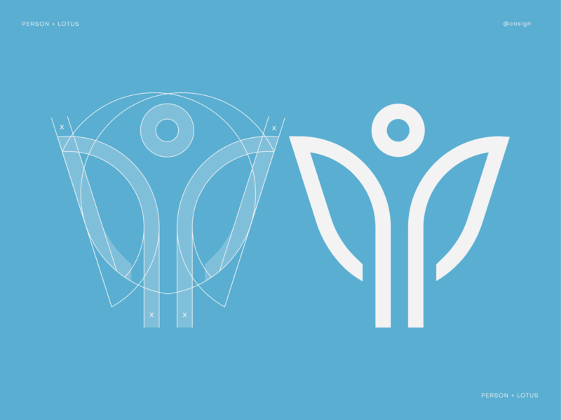 Person + Lotus yoga meditation health care icon beauty health wellness flower lotus person logo icon