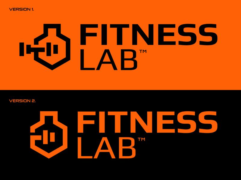 FitnessLab training sport dumbbell brand identity logo icon laboratory lab fitness