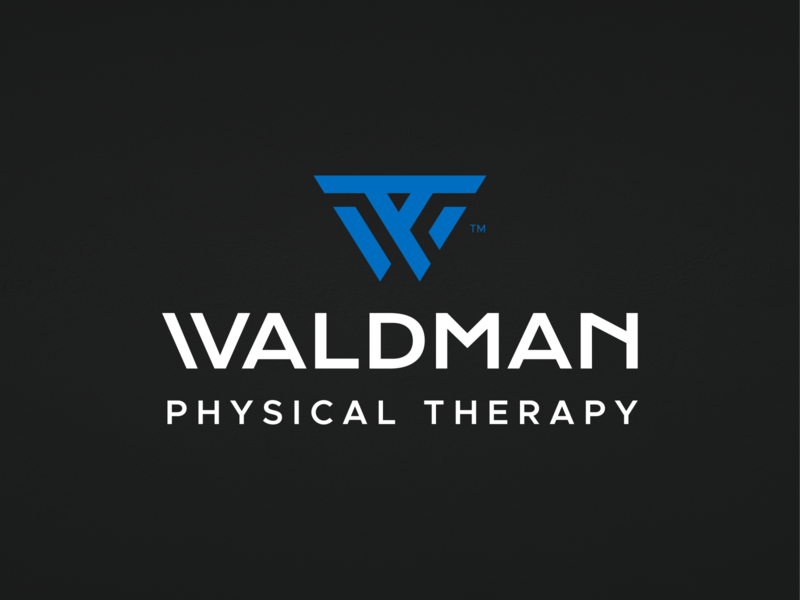 Waldman™ Physical Therapy stationery logo icon brand identity blue minimal bold abstract w p t letter monogram