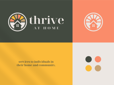 Thrive At Home round negative space beach sunshine roof home house therapy beauty wellness horizon sun brand identity logo icon